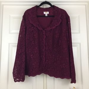 Talbots lace jacket burgundy holiday party 24W